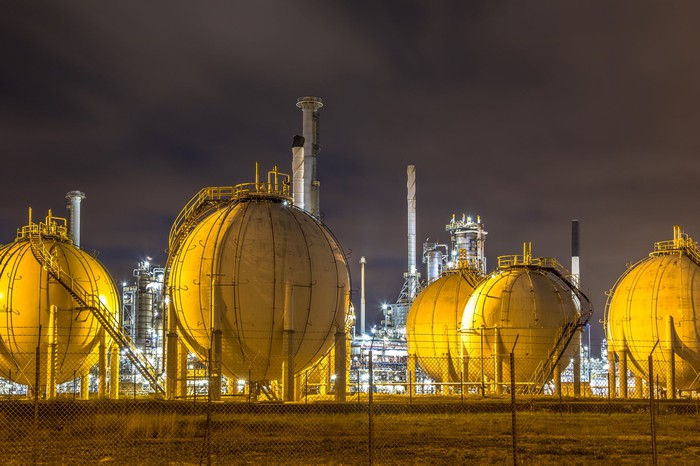 Liquefied natural gas storage containers.