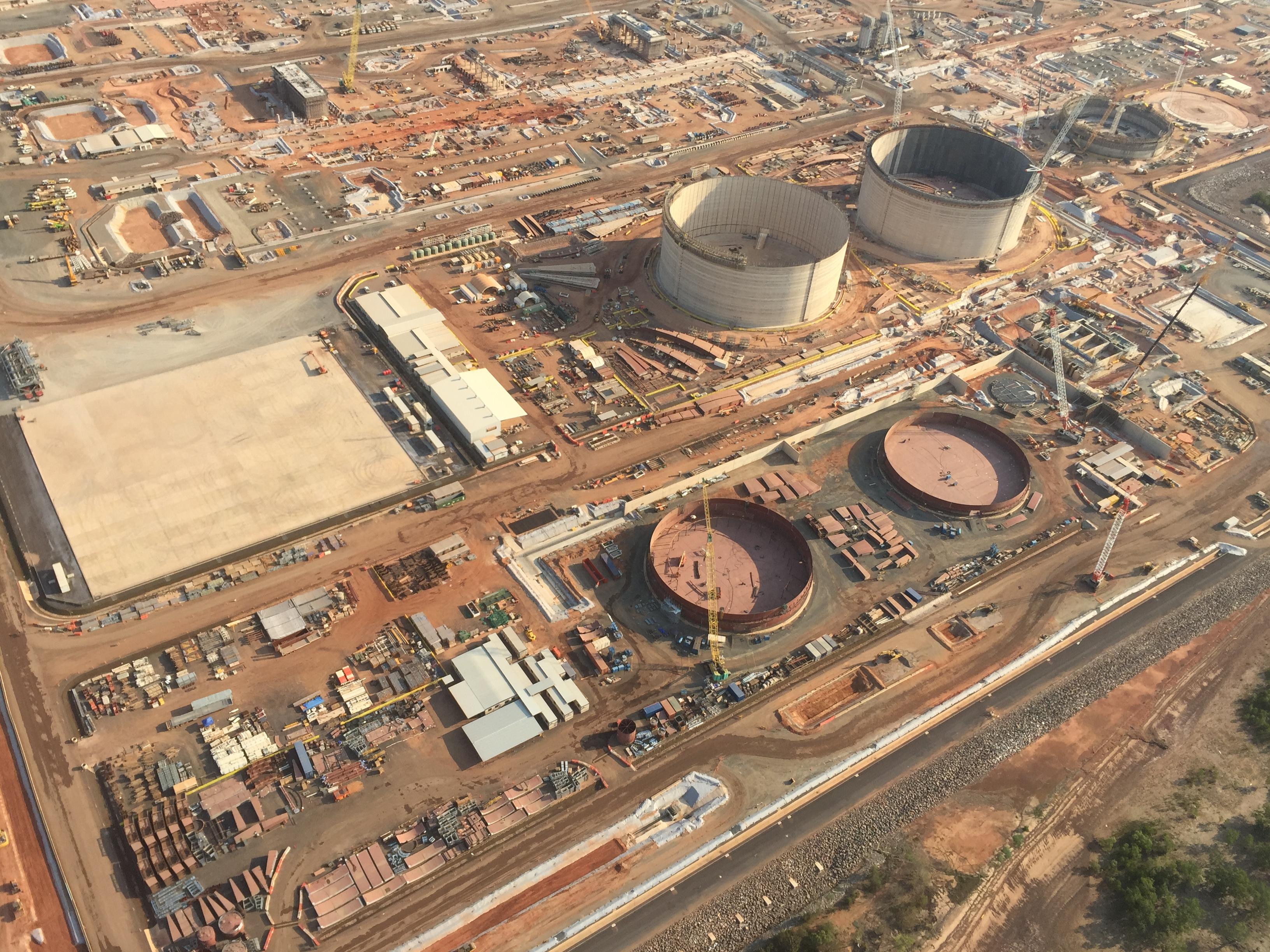 LNG storage tanks under construction.