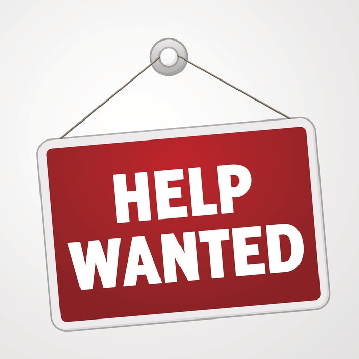 A help wanted sign