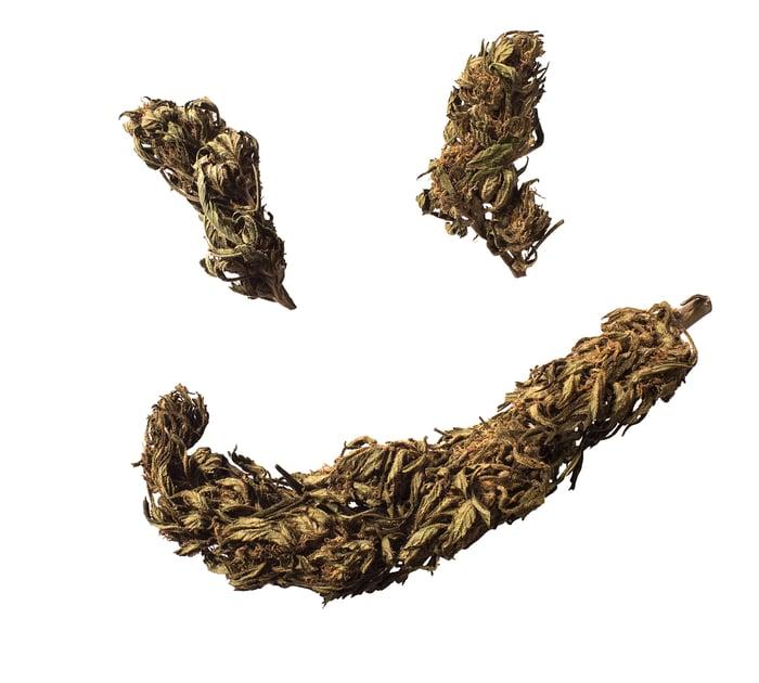 Marijuana buds forming a smiley face.