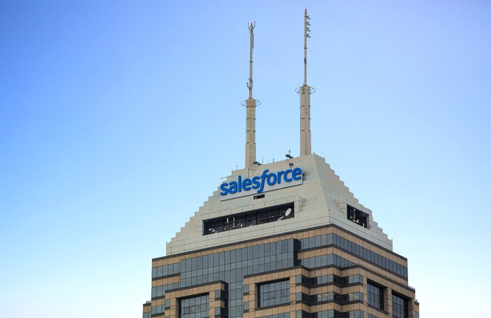 The Salesforce headquarters rooftop bearing the company logo.