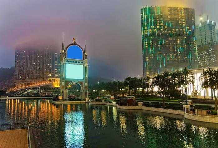 Macau skyline showing City of Dreams casino along Venetian canal