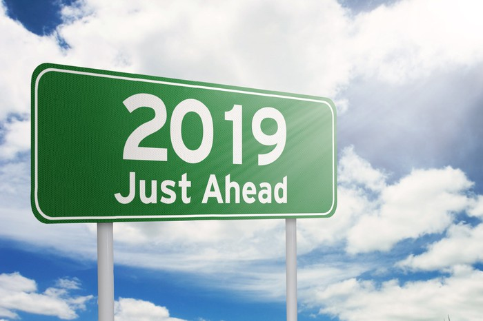 "Sign reading ""2019 Just Ahead."""