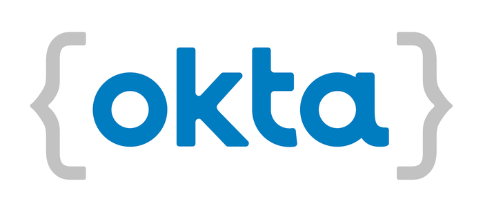 """Okta's corporate logo of """"okta"""" in lowercase blue letters surrounded by grey open curly-brackets."""