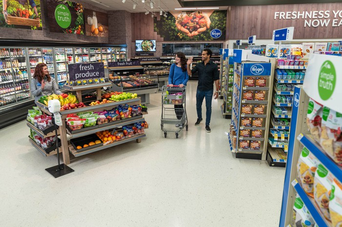 A Kroger Express concept inside of a Walgreens store