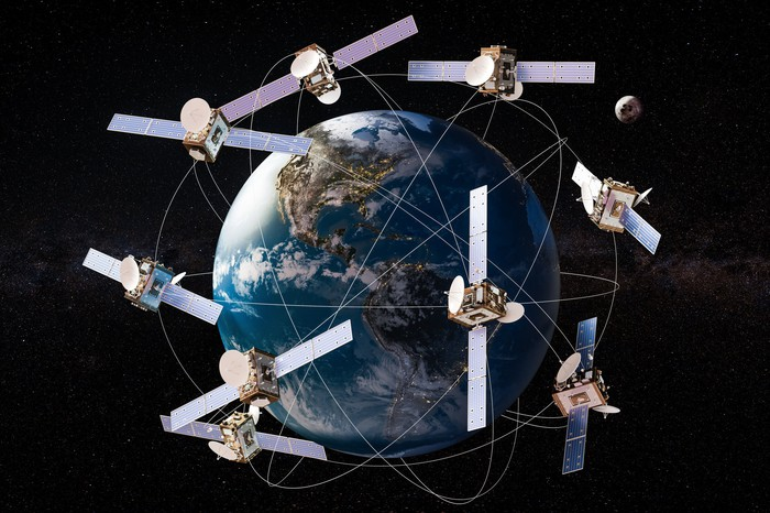 A depiction of nine satellites orbiting Earth.