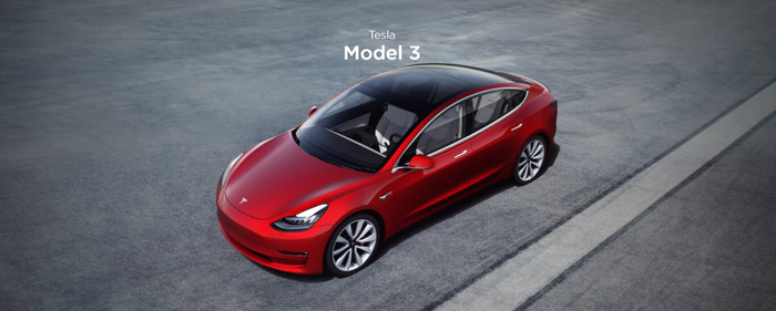 Tesla Model 3 viewed from above