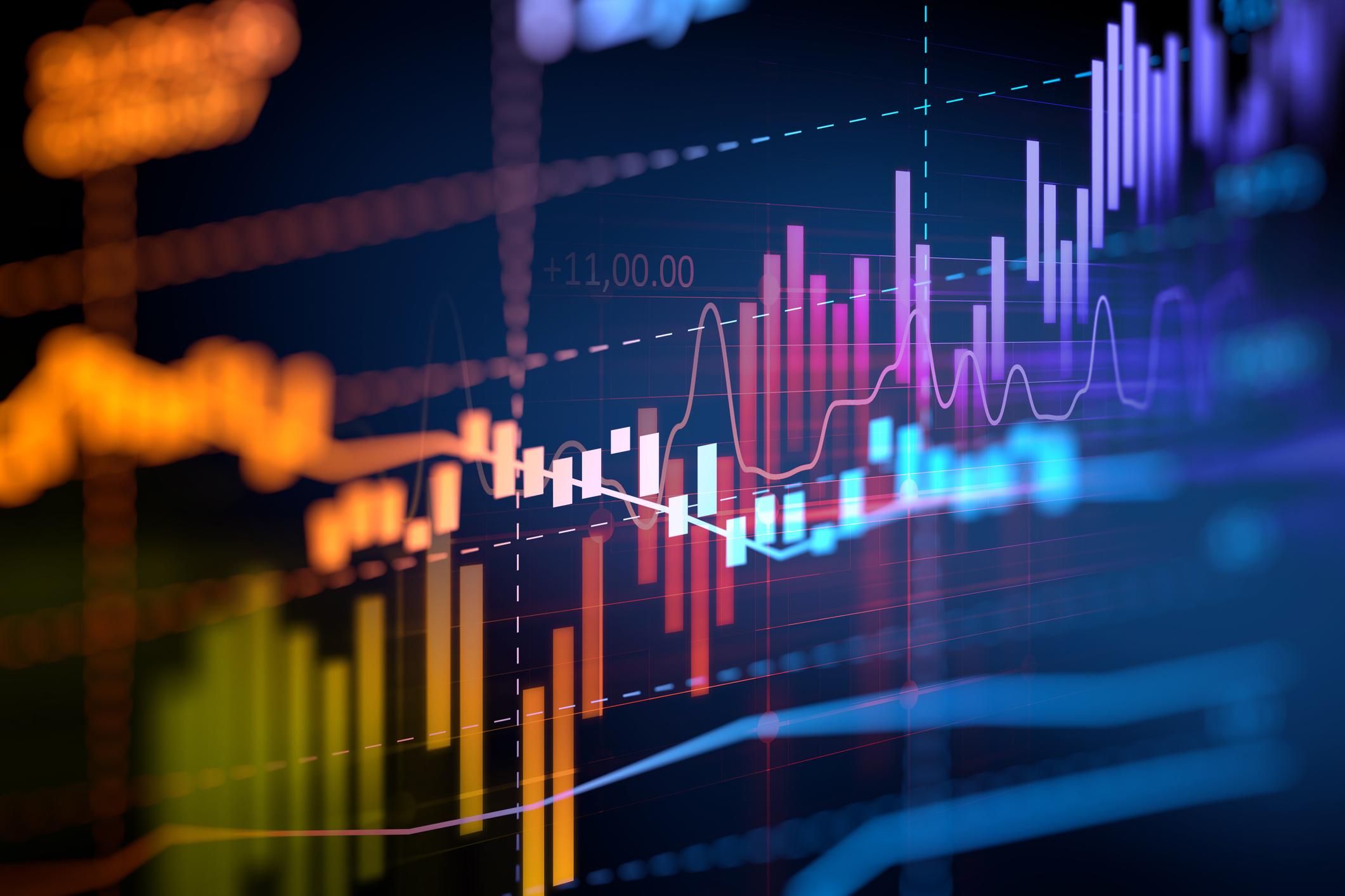 Stock chart on dark blue background.