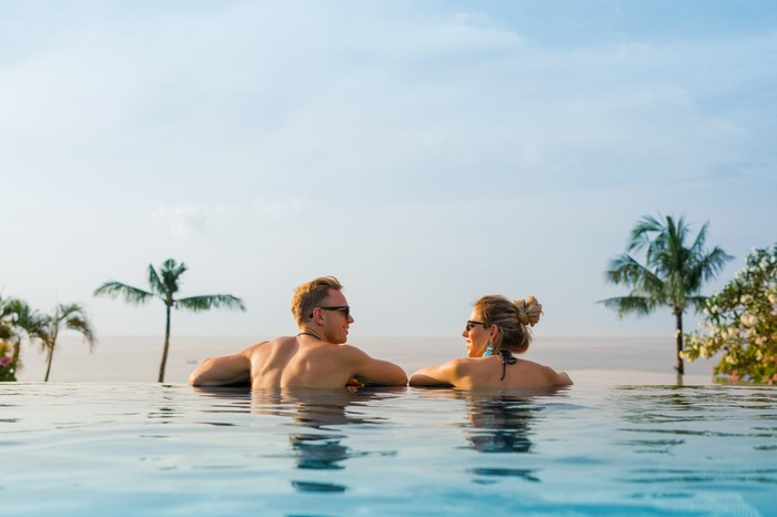 A couple in an infinity pool