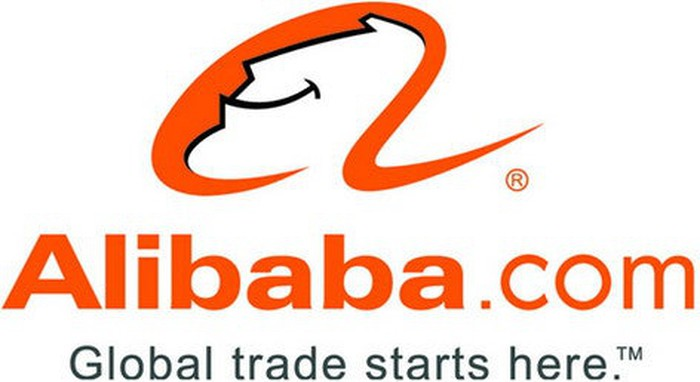 Alibaba's corporate logo, featuring a cartoon-style smiling genie in a lowercase letter A.