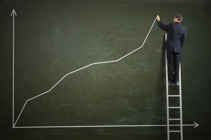 A man wearing a suit and standing on a ladder draws a rising line chart on a giant blackboard.