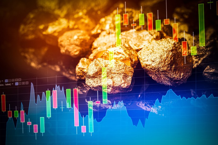 A stock chart with gold nuggets in the background.