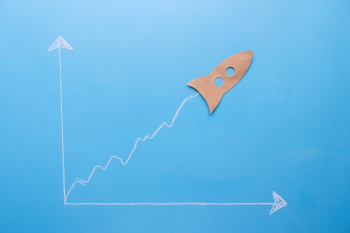Graph sketch with one arrow pointed up and one pointed to the right -- and a paper rocket shooting higher from the corner.