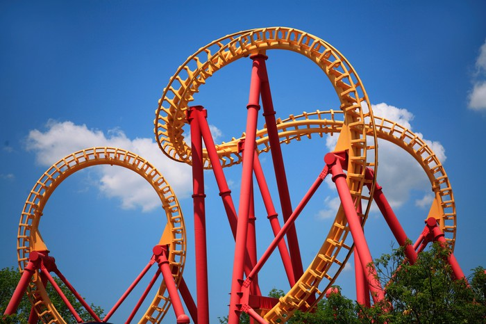 A looping roller coaster.