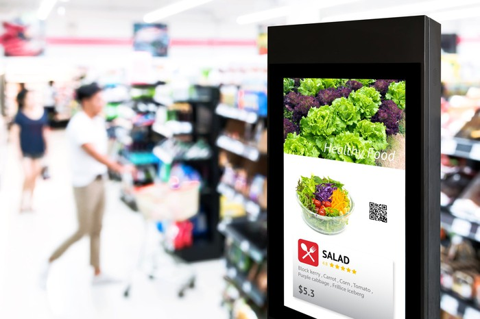 """A """"smart"""" sign in a supermarket."""