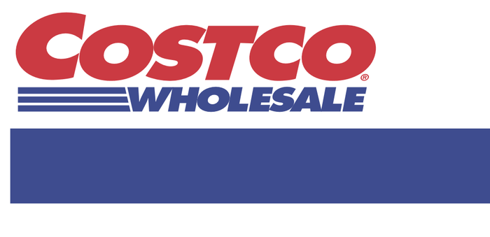 Costco logo with red and blue letters on a white background.