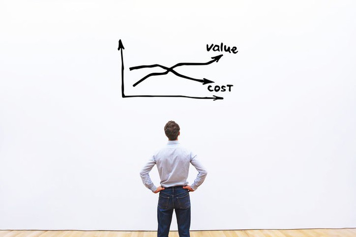 A man staring at a chart showing value vs. cost.
