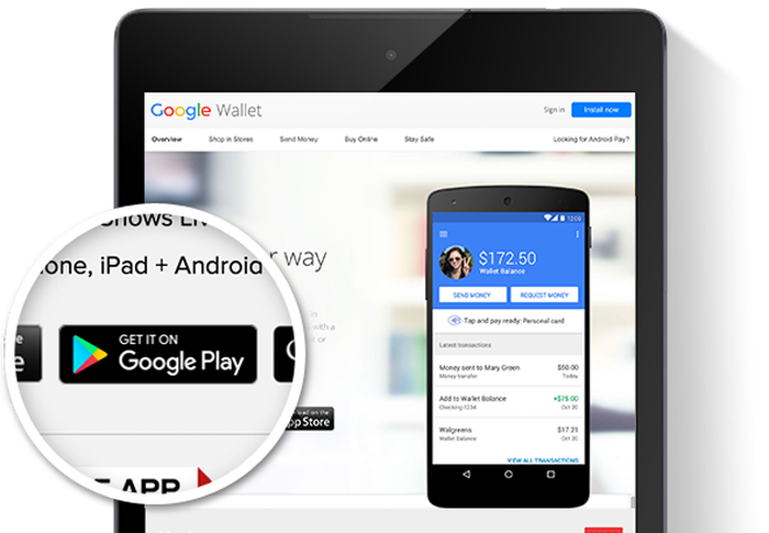 Google Pay option on Google Wallet on different apps.
