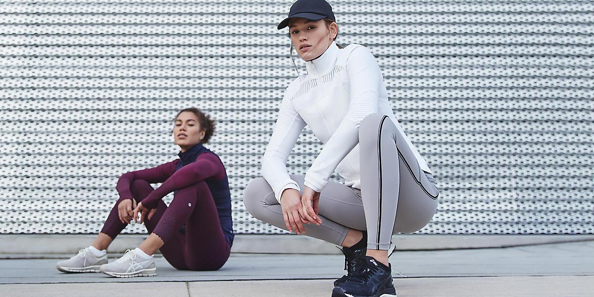 Two women wearing Lululemon apparel.