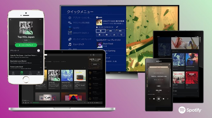 Spotify app across various devices in Japan.