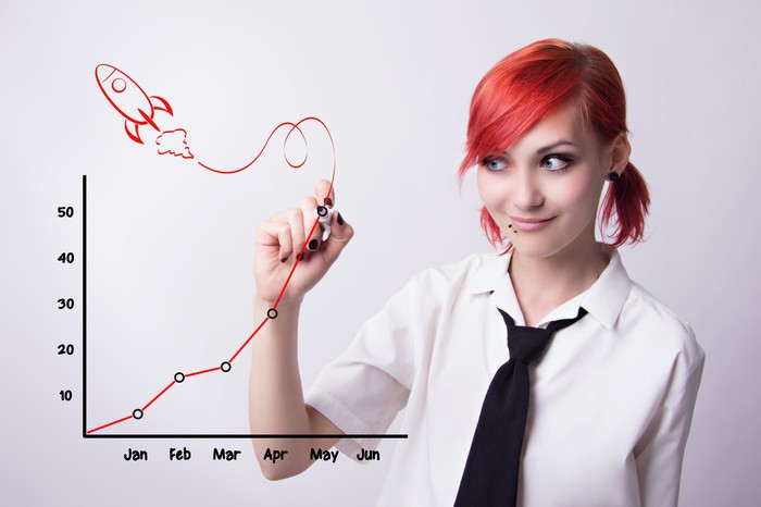 A woman draws a picture of a rocket and an upwardly ascending price chart.