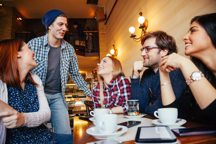 Group of young people having coffee in a cafe