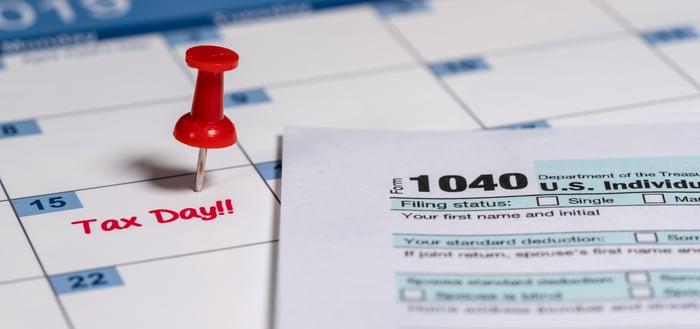 Tax day on a calendar