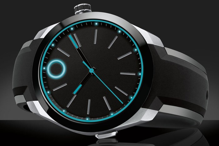 Movado bold black watch with glowing blue outlines in the face.