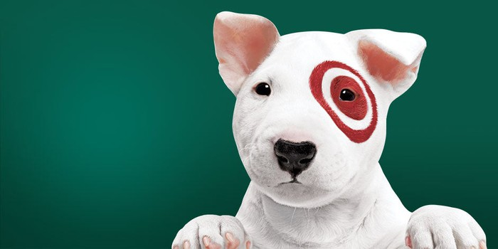 A small, white bull terrier with the Target bullseye logo around his left eye.