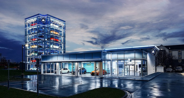 Carvana's Indianapolis car vending machine that holds 26 vehicles.