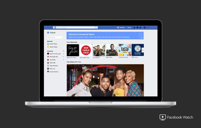 Facebook Watch on a laptop