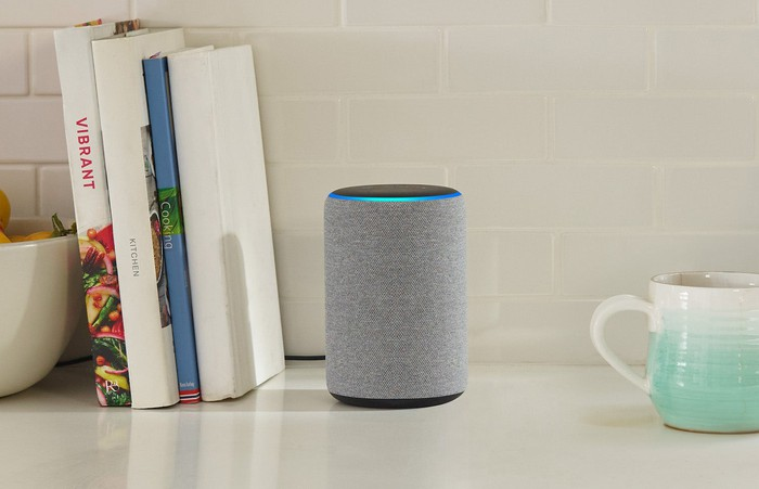 Amazon Echo smart speaker on a countertop