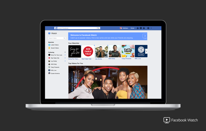 The Facebook Watch homepage on a laptop