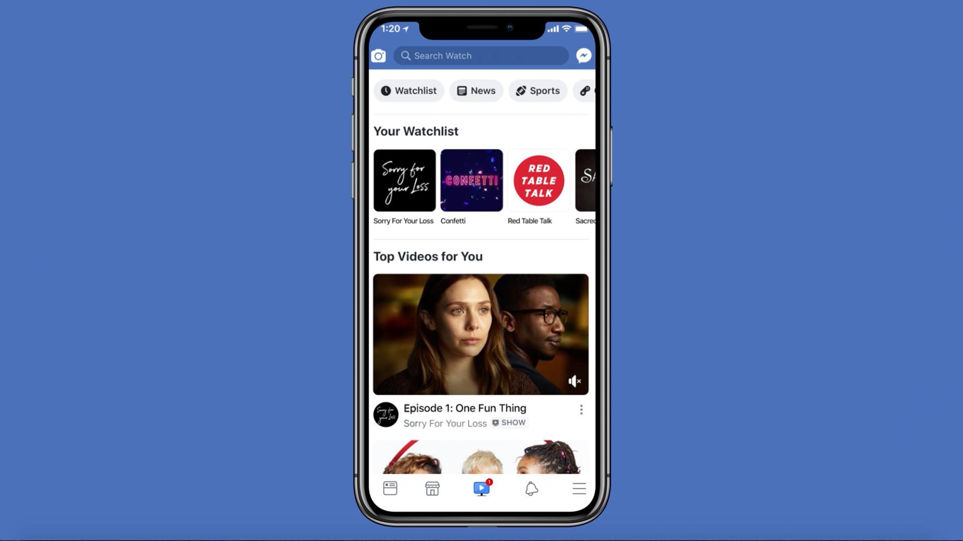 Facebook Watch, as seen on a smartphone.