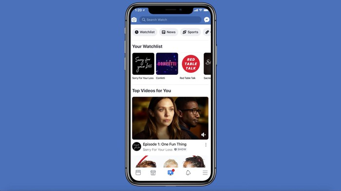 Facebook Watch, as seen on a smartphone.