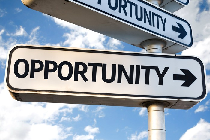 A sign with the word opportunity and an arrow.