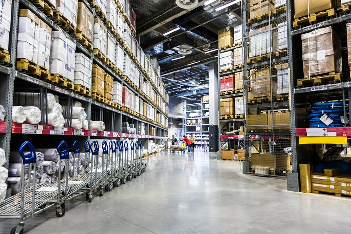 A wide view of the inside of a warehouse superstore