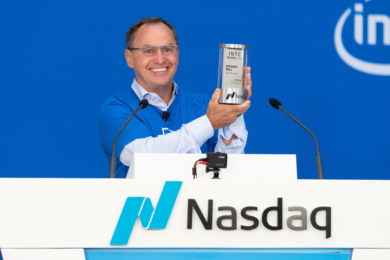 Intel interim CEO Bob Swan ringing the Nasdaq opening bell.