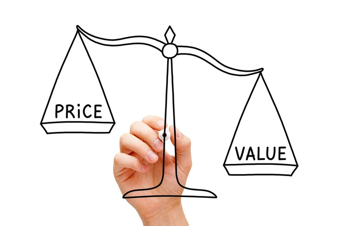 A hand completing the drawing of a balancing scale in which the word 'Value' outweighs the word 'Price'