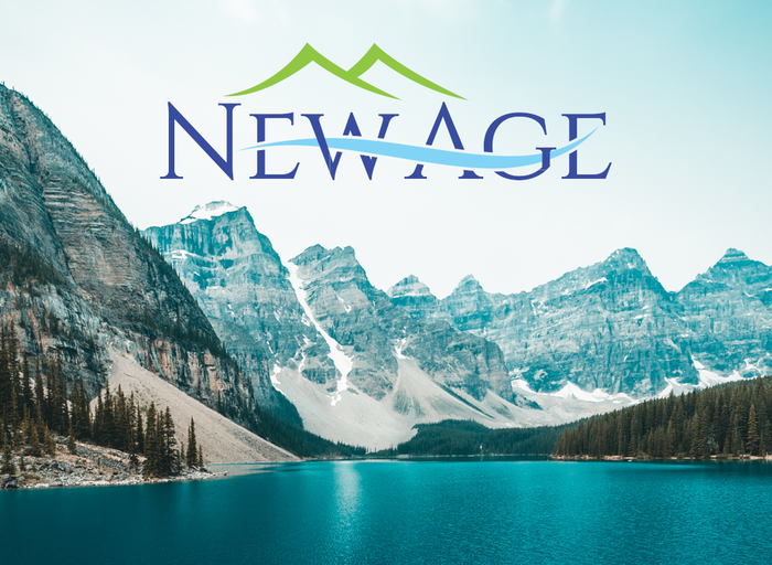 Glacial mountain view with lake in forefront with New Age logo