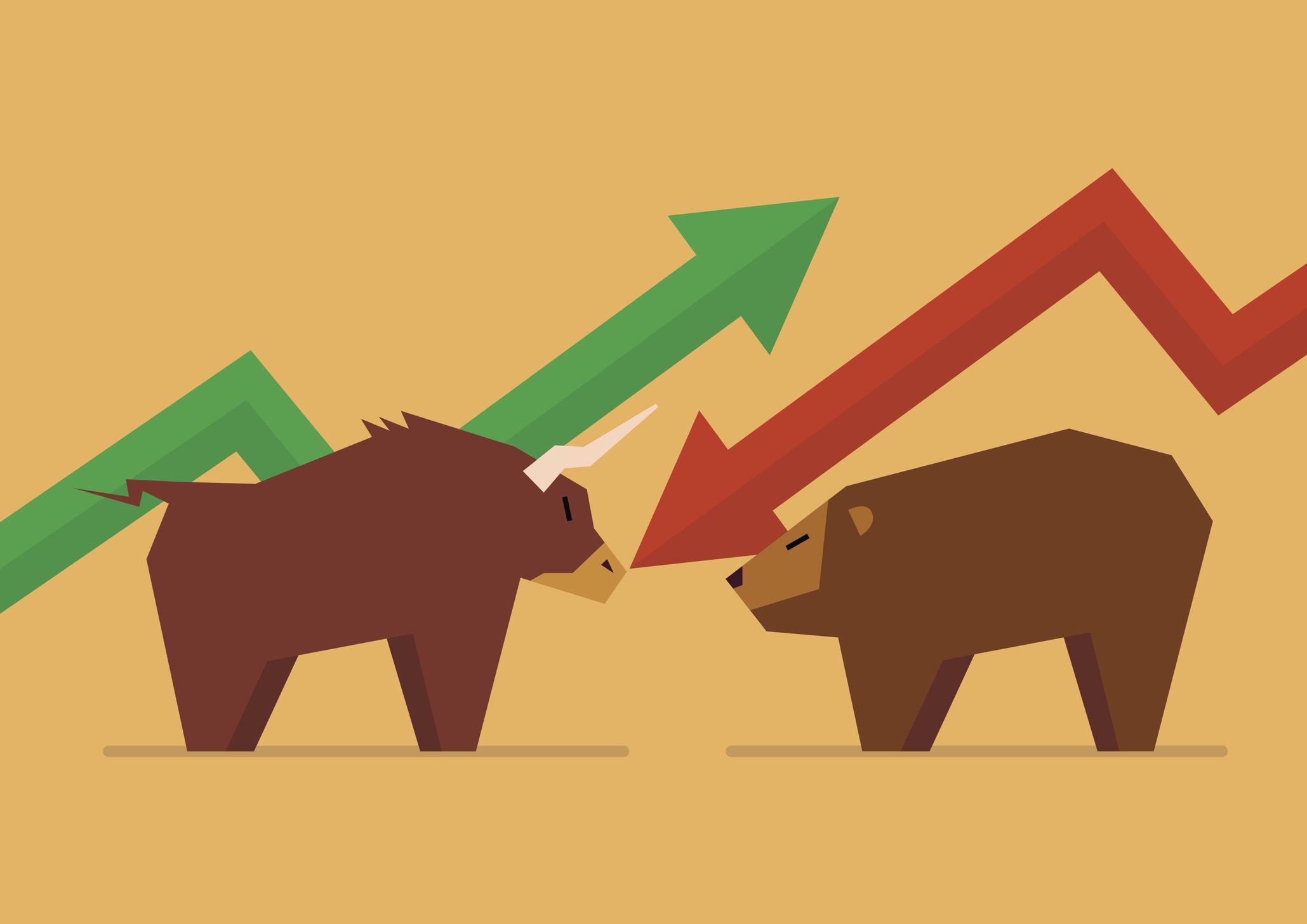 Cartoon bull facing cartoon bear under green and red stock arrows
