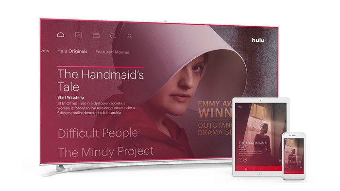 Hulu's homescreen on TV, tablet, and smartphone depicting The Handmaid's Tale.