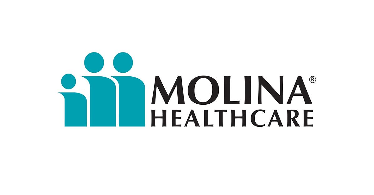 Three stylized graphics representing people, as Molina logo.