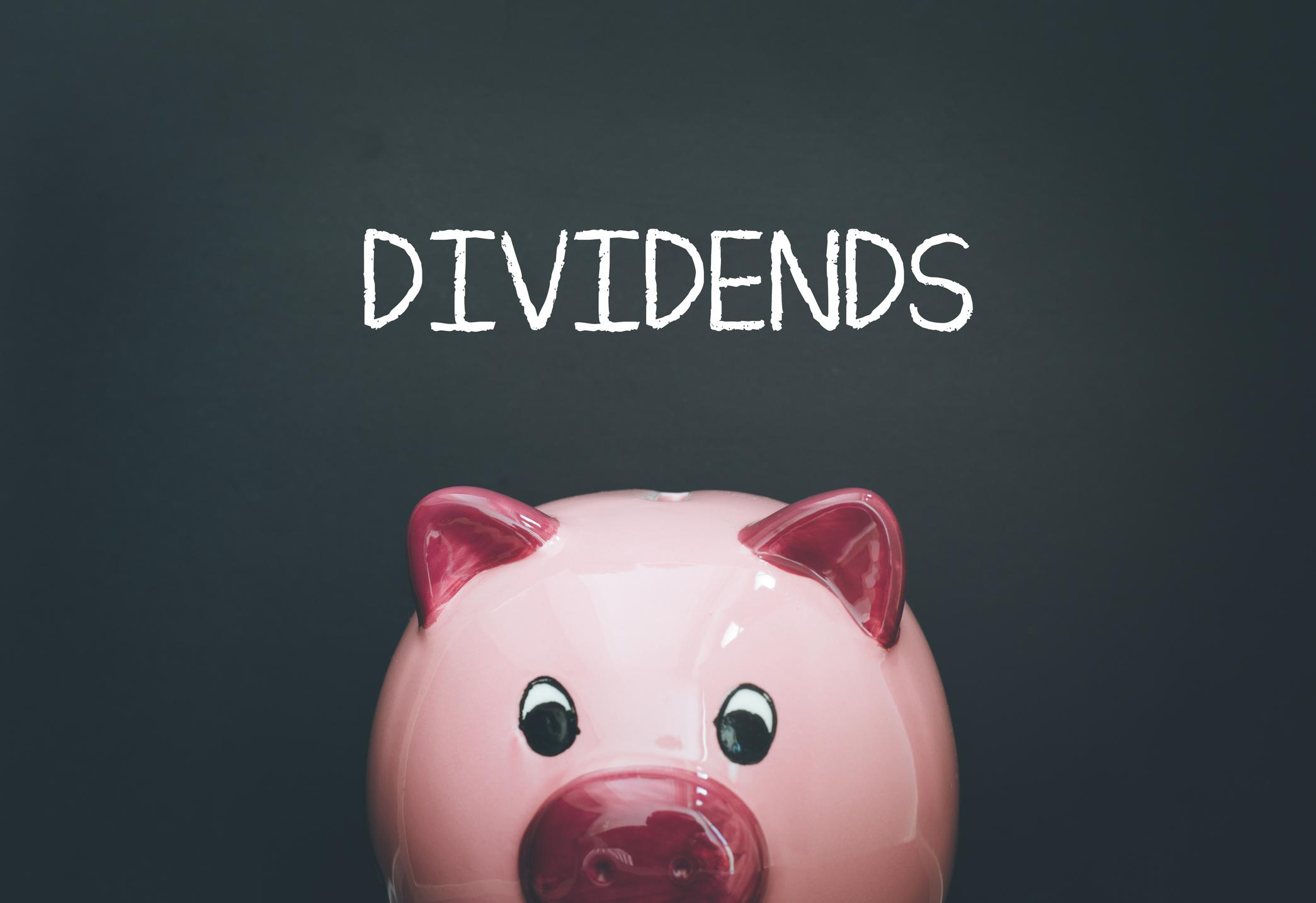 """The word """"dividends"""" written above a piggy bank."""