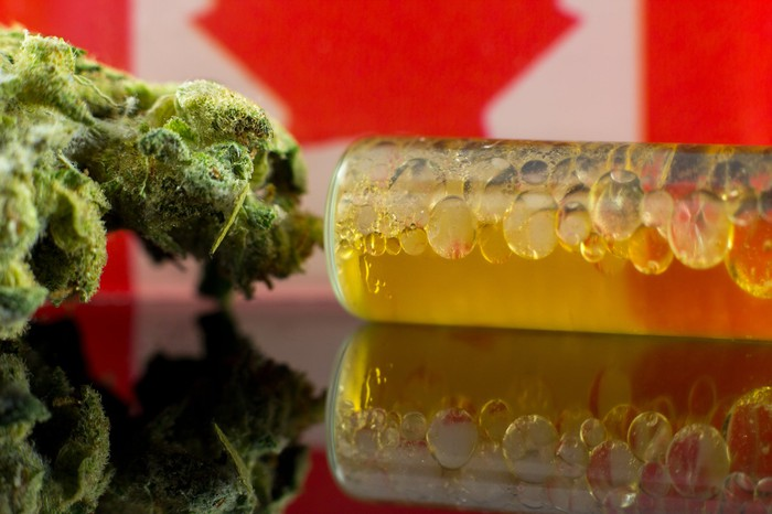 Cannabis oil in front of a Canadian flag.