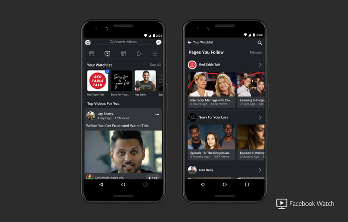 Facebook Watch interface on two smartphones