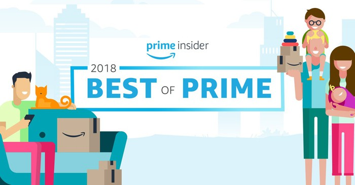 "A banner image that says ""Prime Insider: 2018 Best of Prime,"" with caricatures of single and family customers."