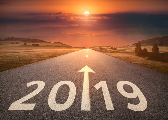 A road with 2019 and an arrow painted on it heading towards a beautiful horizon.