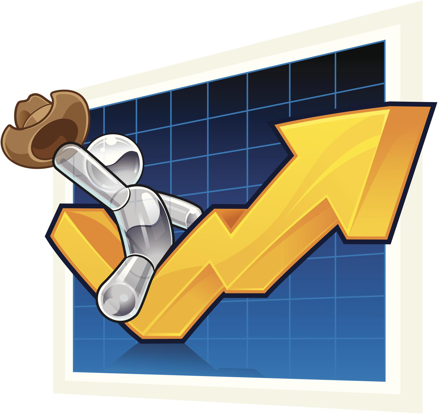 A cartoon cowboy riding a stock chart moving higher