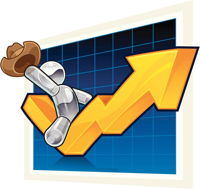 A cartoon cowboy riding a stock chart moving higher